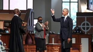 Former U.S. President Barack Obama addresses the service in front of Reverend Raphael Warnock during the funeral of late U.S. Congressman John Lewis, in Atlanta, Georgia, U.S. July 30, 2020.