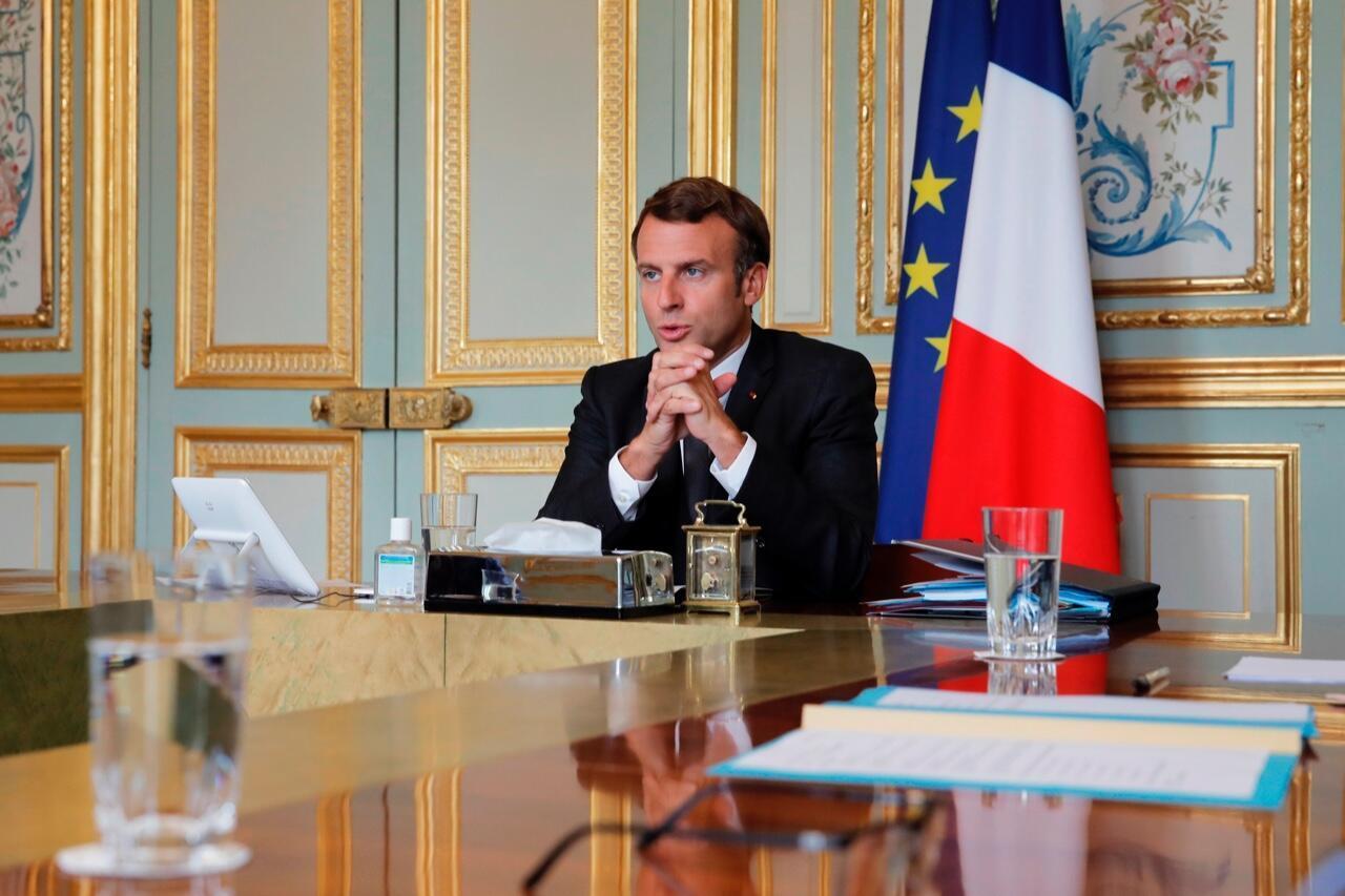 El presidente de Francia, Emmanuel Macron, en el Palacio del Elíseo, en París, el 10 de julio de 2020.