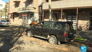 At least half of the population of Nagorno-Karabakh's capital, Stepanakert, has fled since the conflict began in late September.