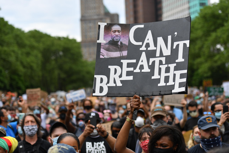 Manifestación en Nueva York el 4 de junio de 2020 por la muerte de George Floyd.