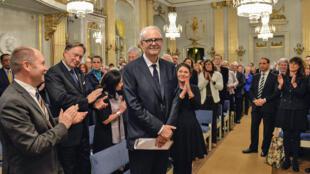 Patrick Modiano, le 7 décembre, lors de la remise du prix Nobel de littérature 2014 à Stockholm.