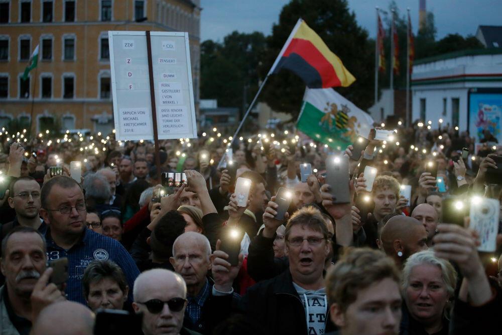 Rassemblement anti-migrants à Chemnitz, dans l'est de l'Allemagne, jeudi 30 août 2018.