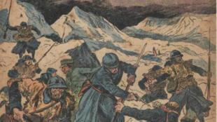 Un détail d'un journal illustré mettant en scène l'assaut des soldats français sur le Mont Tomba.