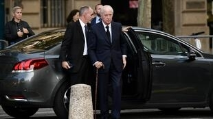 Edouard Balladur arrives to attend a church service for former French President Jacques Chirac in Paris on September 30, 2019.