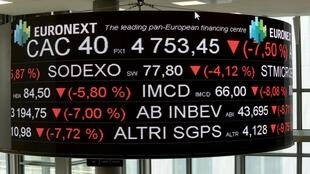 La salle de contrôle d'Euronext, société qui gère la Bourse de Paris