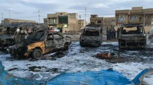 آثار تفجير سابق في العاصمة بغداد
