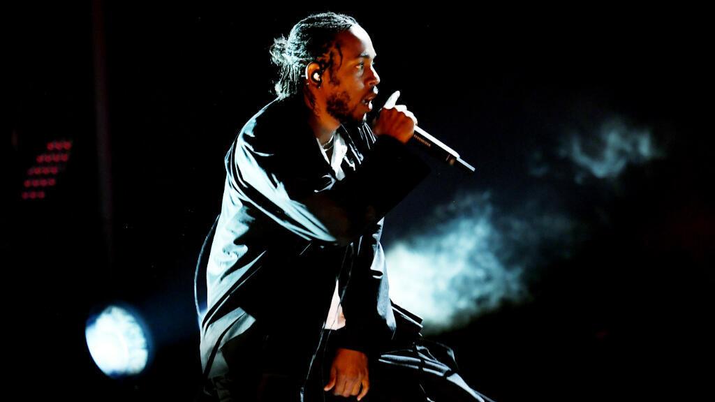 Kendrick Lamar sur la scène des Grammy Awards, le 28 janvier 2018, à New York.