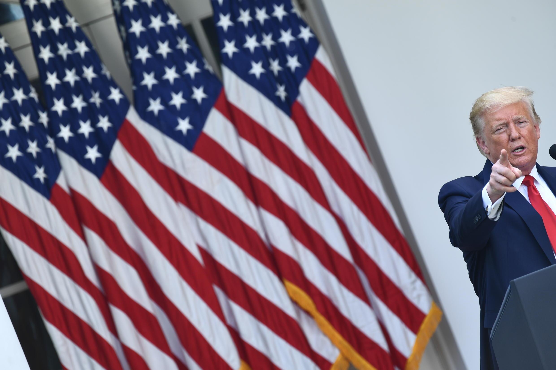 El presidente estadounidense, Donald Trump, desde la Casa Blanca, en Washington, el 29 de mayo de 2020.