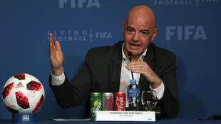 Le président de la Fifa, Gianni Infantino, lors d'une conférence de presse à Doha, au Qatar, le 13 décembre 2018.