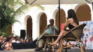El director colombiano Víctor Gaviria ofrece un conversatorio en el marco del Festival de Cine de Cartagena, en Colombia, el 8 de marzo de 2019.