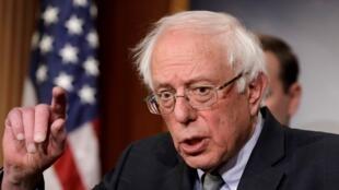 El senador estadounidense, Bernie Sanders, habla durante una conferencia de prensa sobre la resolución de Yemen en el Capitolio en Washington, Estados Unidos, el 30 de enero de 2019 (Imagen de archivo).