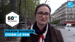 Manon Bouquin, 24 ans, milite pour la candidature de Marine Le Pen.