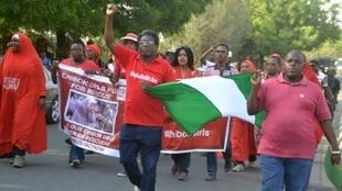 تظاهرة في أبوجا للمطالبة بإعادة تلميذات شيبوك اللواتي خطفن قبل ثلاثة أعوام في 8 كانون الثاني/يناير 2017