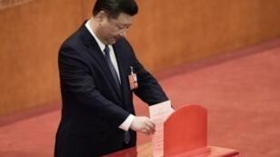 الرئيس الصيني شي جينبينغ يصوت على تعديل الدستور في البرلمان الصيني في 11 اذار/مارس 2018