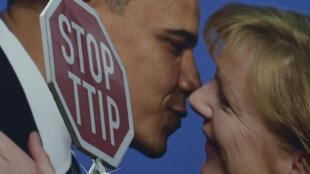 L'accord sur une zone de libre-échange entre les États-Unis et l'Union européenne a toujours suscité de fortes resistances comme lors de cette manifestation en Allemagne