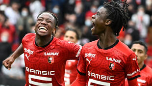 Eduardo Camavinga (R) celebrates what turned out to be the winning goal against Montpellier