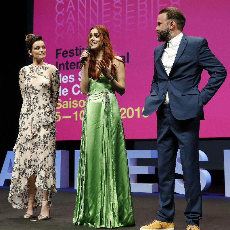 Miembros del jurado del Festival Canneseries durante la ceremonia de inauguración, el 5 de abril de 2019 en Cannes, Francia.