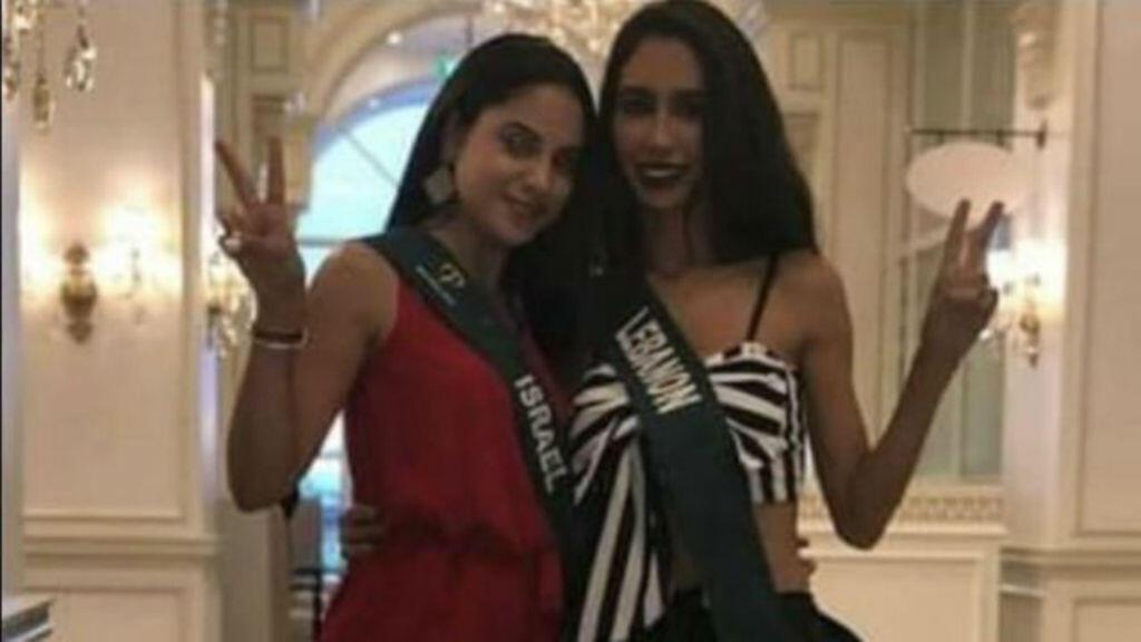 La Miss israélienne Dana Zreik et son homologue libanaise Salwa Akar aux Philippines.