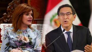 Presidente de Perú, Marín Vizcarra, mientras anuncia la disolución del Congreso, este lunes 30 de septiembre en Lima, Perú.