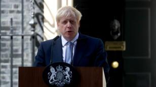 Allocution de Boris Johnson, fraîchement nommé Premier ministre, devant le 10 Downing Street, le 24 juillet 2019.