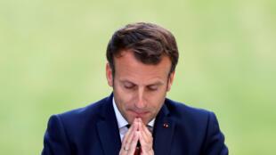 Le président Macron s'adresse à la convention citoyenne dans les jardins de l'Elysée, le 29 juin 2020