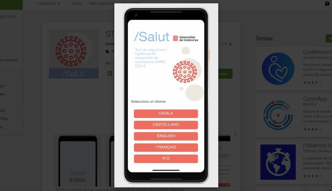 Vista de la interfaz de la app catalana Stop Covid19 Cat.
