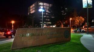 جامعة لوس أنجليس الرسمية في ولاية كاليفورنيا في 25 نيسان/أبريل 2019 خلال حجر صحي للطلاب والمدرسين فرض بسبب انتشار مرض الحصبة