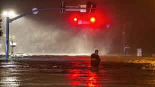L'ouragan Nate a frappé la ville de Biloxi dans le Mississipi provoquant d'importantes inondations, le 7 octobre 2017.