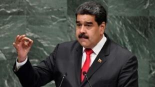 El presidente de Venezuela, Nicolás Maduro, se dirige a la 73ª sesión de la Asamblea General de las Naciones Unidas en la sede de Nueva York, EE. UU., el 26 de septiembre de 2018.