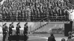 The funeral of communist Yugoslavia's leader Josip Broz Tito, on May 8, 1980, in Belgrade