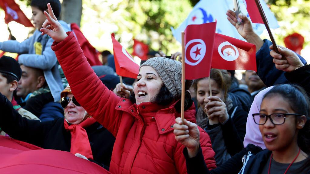 متظاهرات تونسيات خلال الاحتفالات المخلدة للذكرى السابعة للثورة التونسية في 14 يناير 2018