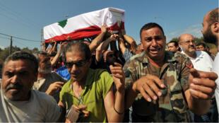 Funérailles du soldat Ali al-Saïed, organisées le 3 septembre au Liban.