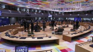 غرفة اجتماعات قادة الاتحاد الأوروبي ، 15 أكتوبر 2020 في بروكسل