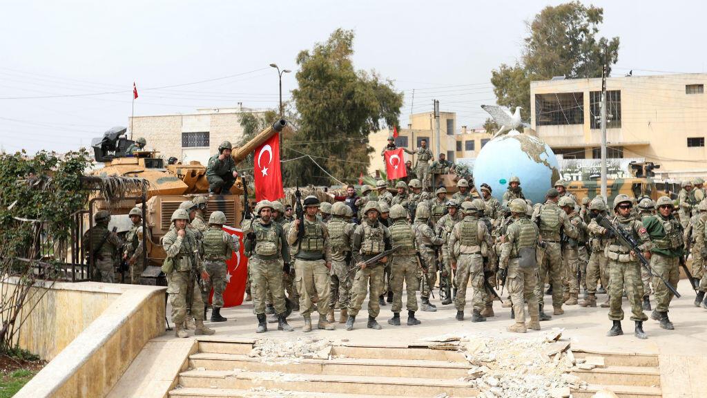 Rassemblement de soldats turcs à Afrin, dans le nord-ouest de la Syrie, le 18 mars 2018.