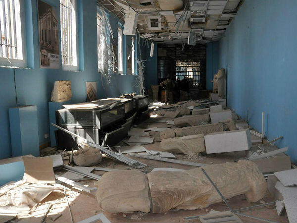 Palmyra's local museum was also left in ruins by the Islamic State group.