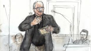 """Ilich Ramírez Sánchez, alias """"el Chacal"""" en su juicio en París el 5 de marzo de 2018"""