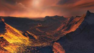 """Una recreación artística de una puesta de sol desde la estrella de Barnard en un planeta recientemente detectado apodado """"Súper Tierra """". 14 de noviembre de 2018."""