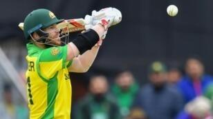 Australia's David Warner bats against Pakistan in Taunton