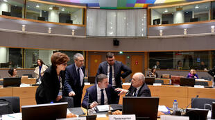 El ministro de finanzas de Bulgaria, Vladislav Goranov, asiste a la reunión de ministros de finanzas de la Unión Europea en Bruselas, Bélgica, el 23 de enero de 2018.