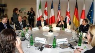 مشهد عام لاجتماع وزراء داخلية مجموعة السبع ومسؤولين من الاتحاد الأوروبي في أسكيا