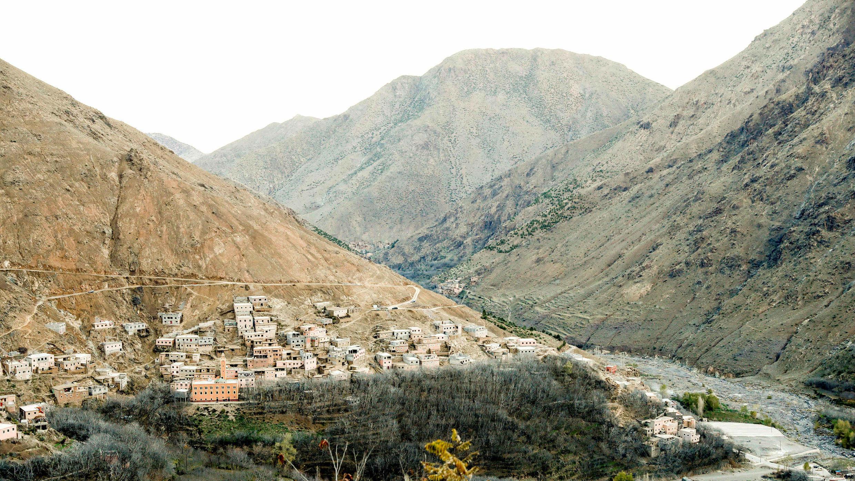 Vista general de Imlin, aldea cercana al área de senderismo en las montañas del Atlas donde encontraron muertas el lunes 17 de diciembre a dos turistas escandinavas, el 20 de diciembre de 2018.