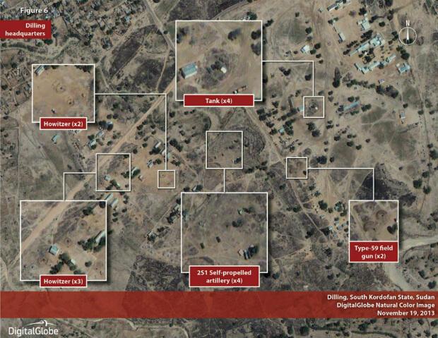 Image satellite observant un accroissement de l'artillerie d'un camp proche de la ville de Dilling dans l'État du Kordofan-Sud au Soudan.