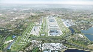 A computer generated image released by Heathrow airport on June 18, 2019, showing what the airport would like in 2050 following the completion of a third runway and new terminals.