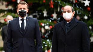 Le président Emmanuel Macron a reçu son homologue Abdel Fattah al-Sissi à l'Élysée, lundi 7 décembre