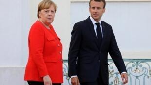 Emmanuel Macron et Angela Merkel le 19 juin, à Berlin.