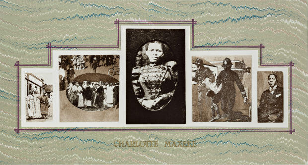 "Sue Williamson Charlotte Maxeke, 1984 Série ""A few South Africans"" (1983-1987) Photogravure, collage sérigraphique, 56 x 96 cm"