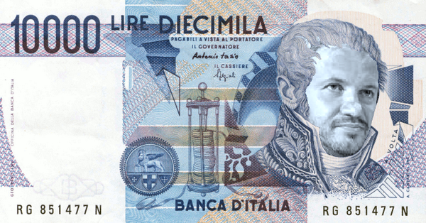 A montage of a 10,000 Lire note with a picture of Claudio Borghi, posted on the Lega candidate's Facebook profile.