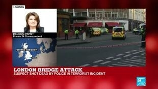 2019-11-29 18:04 FRANCE 24's Bénédicte Paviot reports from London Bridge as suspect shot dead by police in terrorist incident