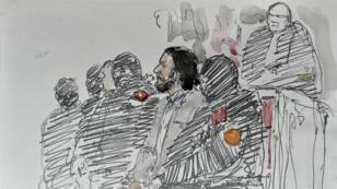 Un dessin de Salah Abdeslam au palais de justice de Bruxelles, le 5 février 2018.