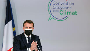 French President Emmanuel Macron delivers a speech during a meeting with members of the Citizens' Convention on Climate (CCC) about their proposals to fight against global warming in Paris on December 14, 2020.